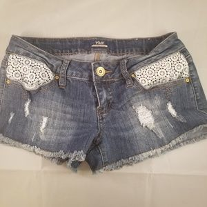 YMI jean shorts distressed crochet lace pocket